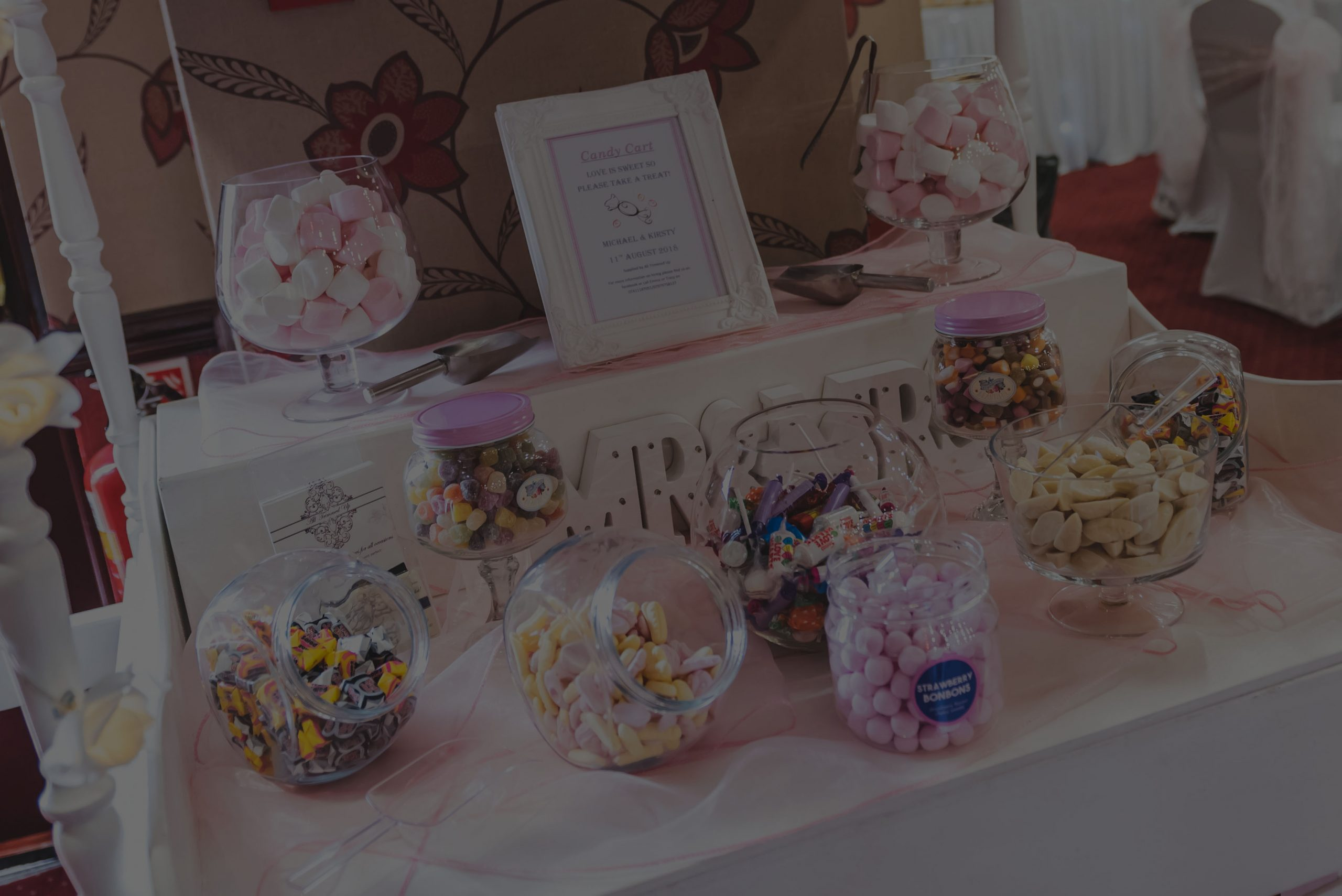 Wedding sweet stall for an evening reception